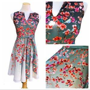 Eshakti Cherry Blossom and Bird Print Ombré Dress